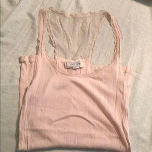 Light Pink lace back tank top